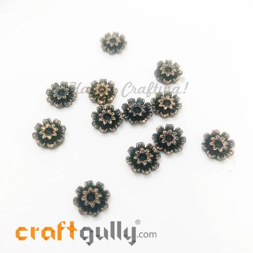 Flatback Acrylic 9.5mm - Flower #7 Black & Golden - 12 Pcs