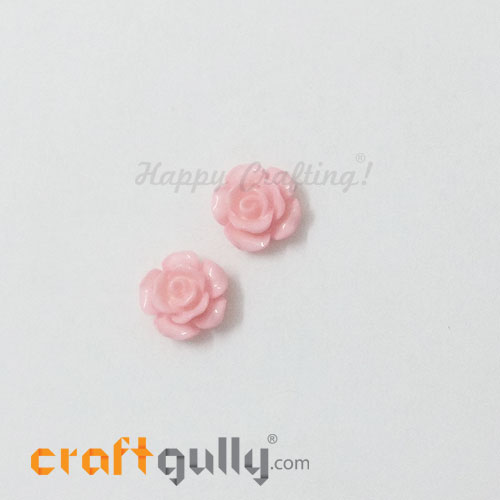 Resin Rose 13mm - Baby Pink - Pack of 2