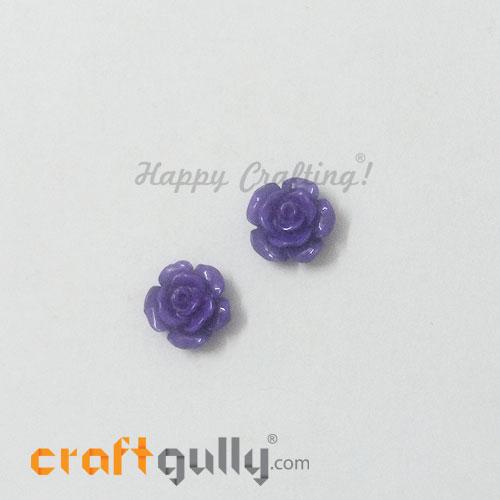 Resin Rose 13mm - Purple - Pack of 2