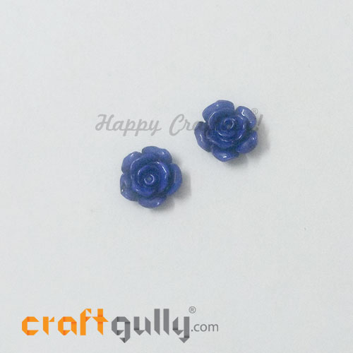 Resin Rose 13mm - Royal Blue - Pack of 2