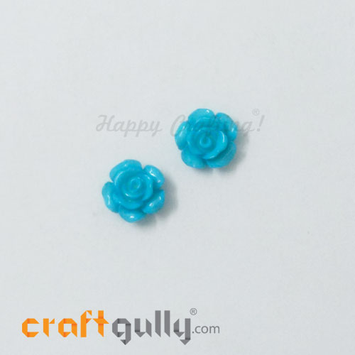 Resin Rose 13mm - Cerulean Blue - Pack of 2