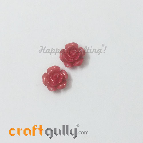Resin Rose 13mm - Red - Pack of 2
