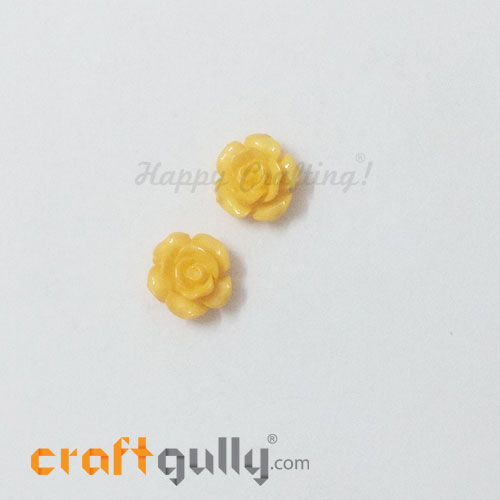 Resin Rose 13mm - Golden Yellow - Pack of 2
