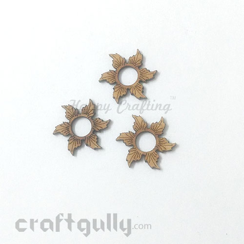 Laser Cut MDF Elements #26 - 6 Petals - Pack of 3