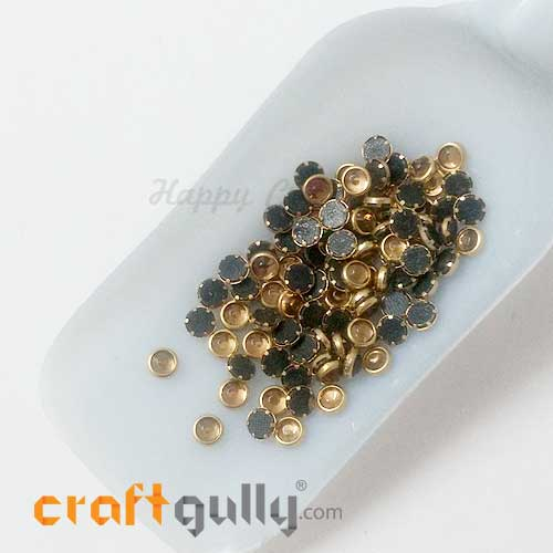 Rhinestones With Rim 5.5mm Round - Antique Golden - 10gms