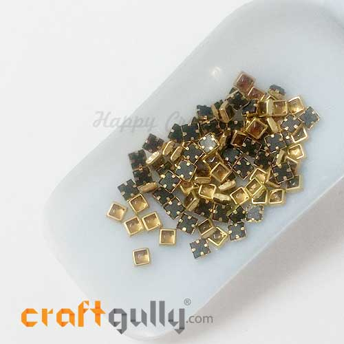 Rhinestones With Rim 5mm Square - Antique Golden - 10gms