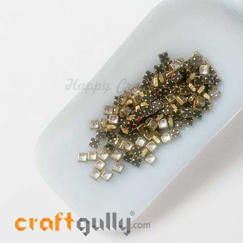 Rhinestones With Rim 4mm Square - White - 10gms