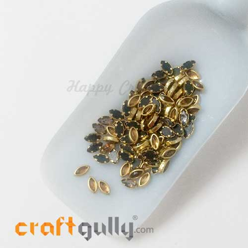 Rhinestones With Rim 7.5mm Marquis - Antique Golden - 10gms