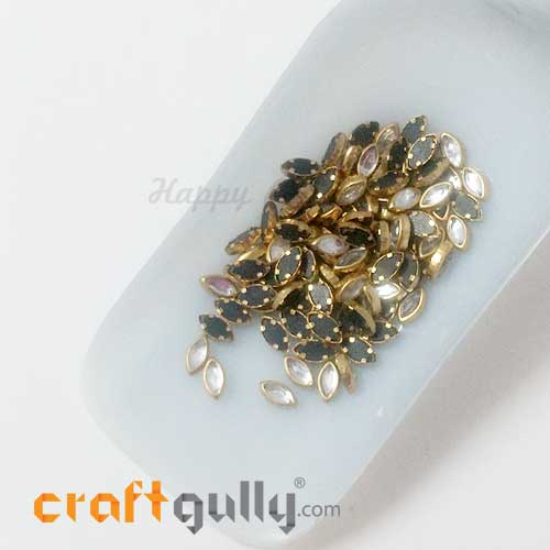 Rhinestones With Rim 7.5mm Marquis - White - 10gms