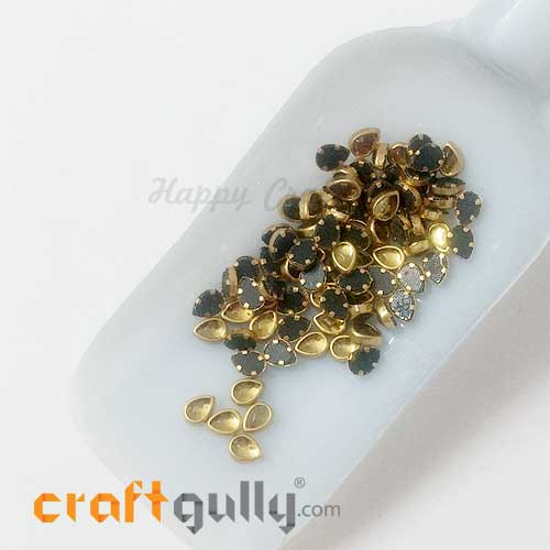 Rhinestones With Rim 6.5mm Drop - Yellow - 10gms