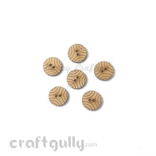 Buttons MDF #1 - 15mm Round - 6 Buttons
