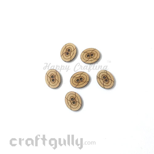 Buttons MDF #5 - 15mm Oval - 6 Buttons