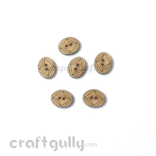 Buttons MDF #6 - 15mm Oval - 6 Buttons