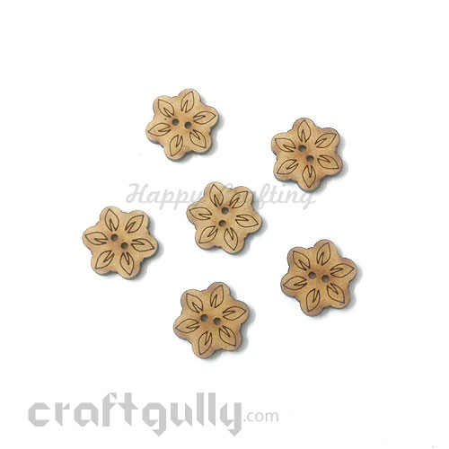 Buttons MDF #9 - 18mm Flower - 6 Buttons