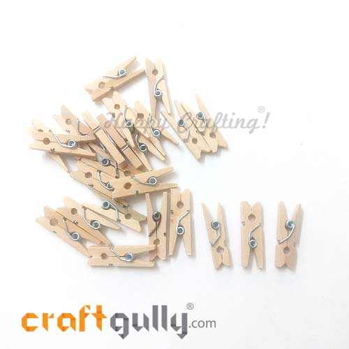 Wooden Clips 25mm - Natural - 25 Clips