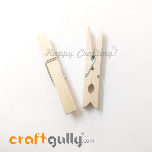 Wooden Clips 72mm - Natural - 2 Clips