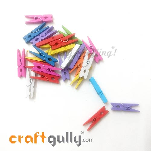 Wooden Clips 30mm - Assorted - 25 Clips
