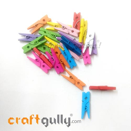 Wooden Clips 25mm - Assorted - 25 Clips