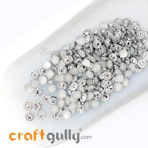 Flatback Acrylic 5mm - Round Bindi - White Silver - 5gms