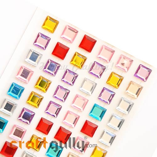 Rhinestone Stick-ons 10mm - Square - Assorted