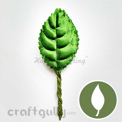 Leaves With Stem - Satin - Leaf Green #6