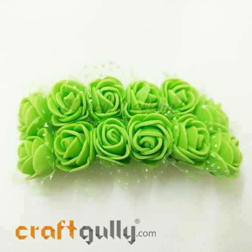 Artificial Flowers Foam 20mm - Rose - Light Green - Pack of 12