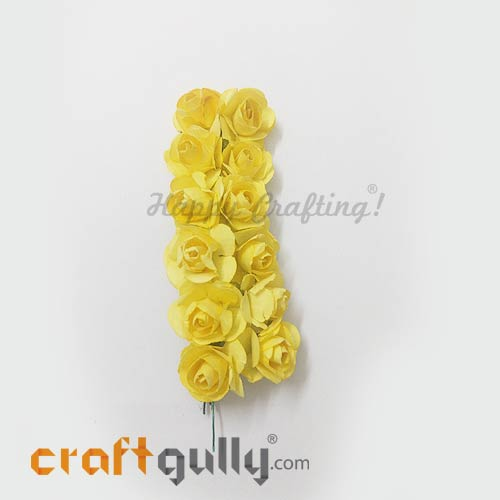 Artificial Flowers Paper 18mm - Rose - Sunflower Yellow - Pack of 12