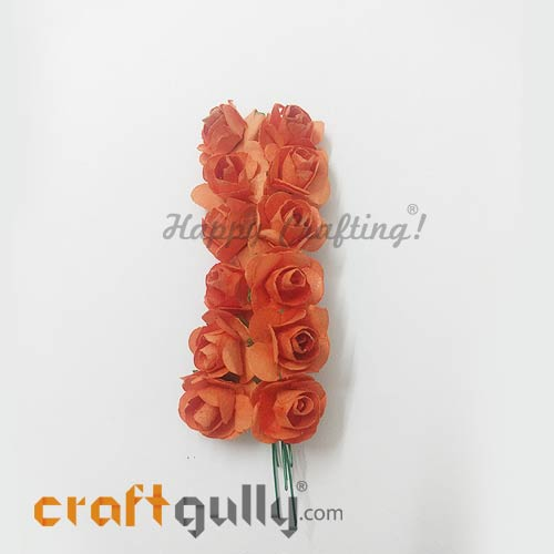 Artificial Flowers Paper 18mm - Rose - Dark Orange - Pack of 12