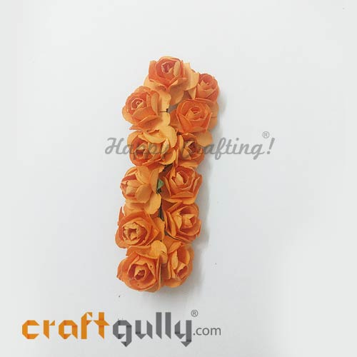 Artificial Flowers Paper 18mm - Rose - Orange - Pack of 12