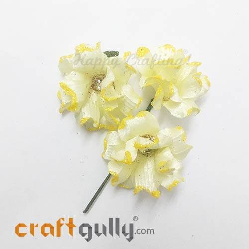 Artificial Flowers Fabric 40mm - Light Yellow With Glitter - Pack of 4