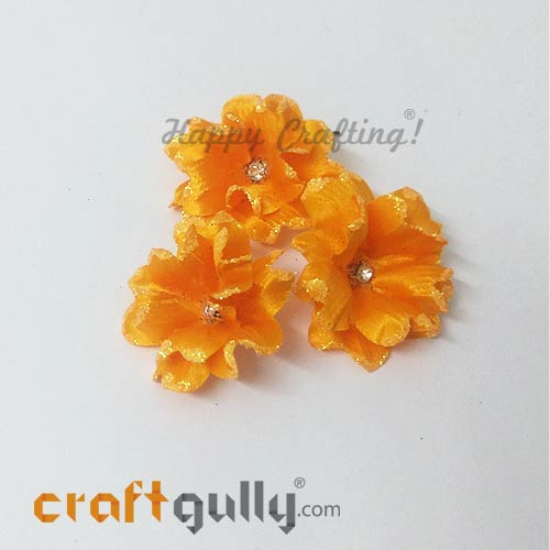Artificial Flowers Fabric 40mm - Golden Yellow With Glitter - Pack of 4