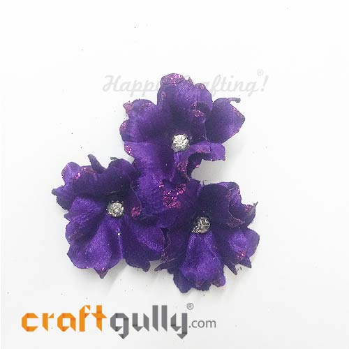 Artificial Flowers Fabric 40mm - Lavender With Glitter - Pack of 4