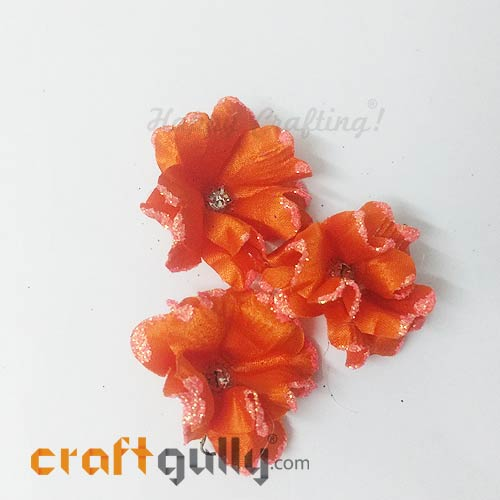 Artificial Flowers Fabric 40mm - Orange With Glitter - Pack of 4