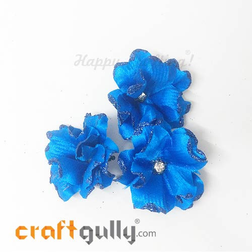 Artificial Flowers Fabric 40mm - Royal Blue With Glitter - Pack of 4