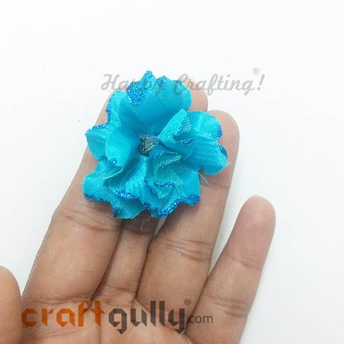 Artificial Flowers Fabric 40mm - Teal With Glitter - Pack of 4