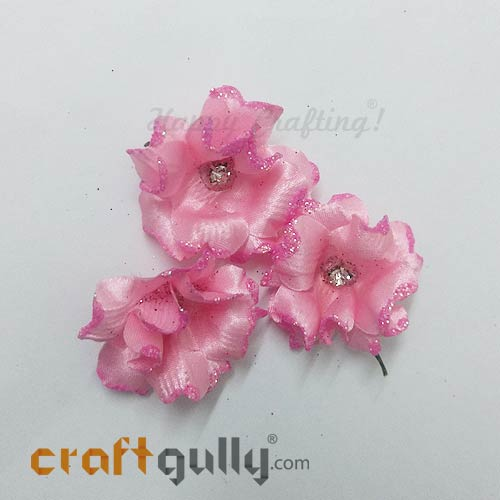 Artificial Flowers Fabric 40mm - Baby Pink With Glitter - Pack of 4