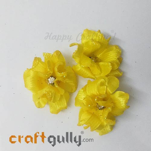 Artificial Flowers Fabric 40mm - Sunflower Yellow With Glitter - Pack of 4