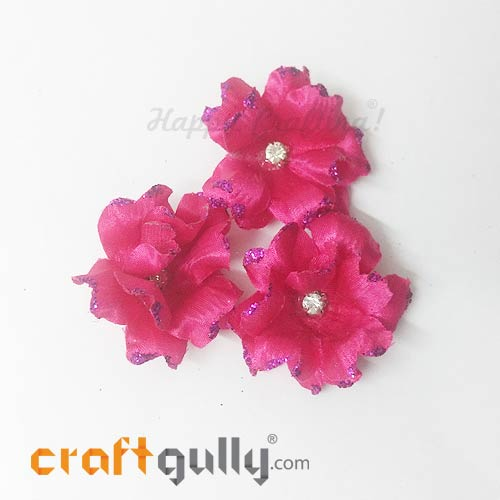Artificial Flowers Fabric 40mm - Fuschia Pink With Glitter - Pack of 4