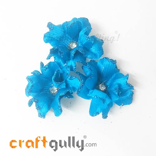 Artificial Flowers Fabric 40mm - Cerulean Blue With Glitter - Pack of 4
