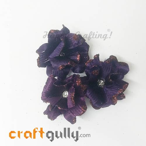 Artificial Flowers Fabric 40mm - Dark Purple With Glitter - Pack of 4