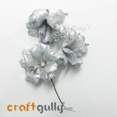 Artificial Flowers Fabric 40mm - Silver With Glitter - Pack of 4