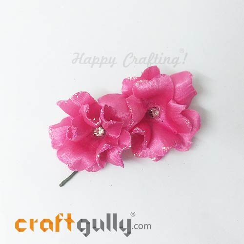 Artificial Flowers Fabric 40mm - Pink With Glitter - Pack of 4