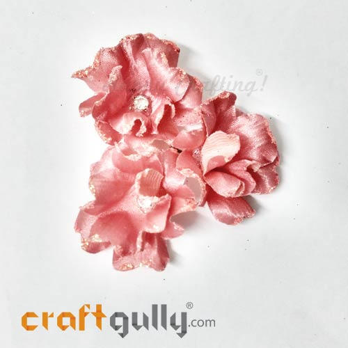 Artificial Flowers Fabric 40mm - Salmon Pink With Glitter - Pack of 4