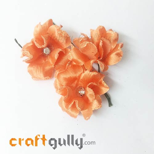 Artificial Flowers Fabric 40mm - Peach With Glitter - Pack of 4