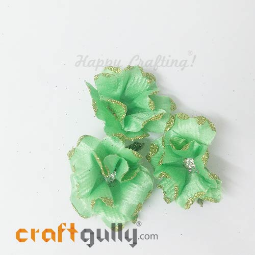 Artificial Flowers Fabric 40mm - Pistachio With Glitter - Pack of 4