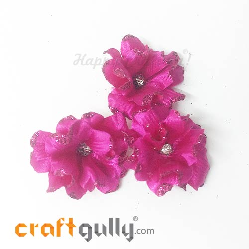 Artificial Flowers Fabric 40mm - Dark Pink With Glitter - Pack of 4