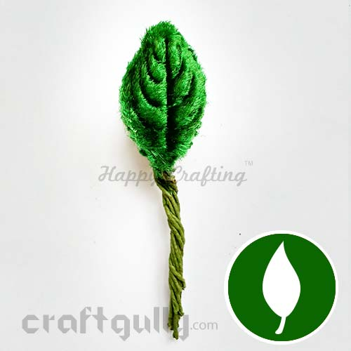 Leaves With Stem #1 - Velvet - Bottle Green - Pack of 12