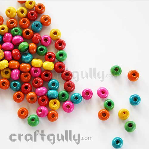 Wooden Beads 3mm - Round - Assorted - 10 gms