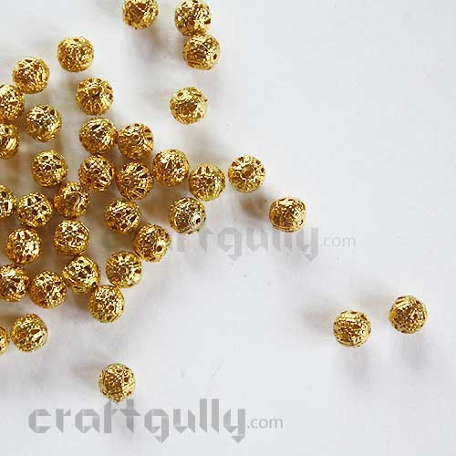 Metal Beads 6mm - Round - Golden Finish - Pack of 25