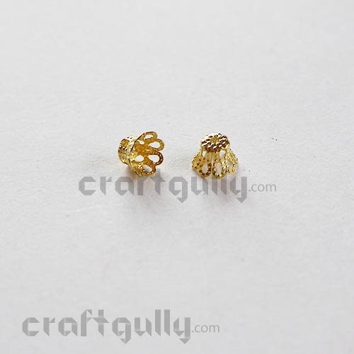 Bead Caps 6mm - Dome - Golden - Pack of 20